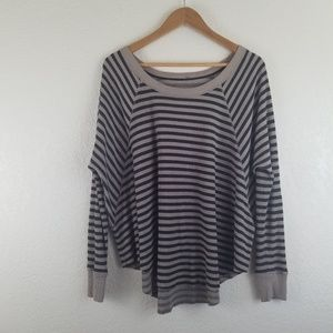 Free People Stripe Thermal Knit Long Sleeve Top A5
